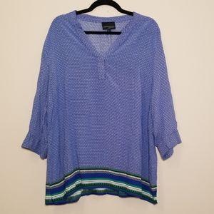 Cynthia Rowley Blue Flowy Blouse Size 3X